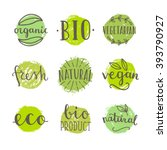 set of bio  vegan food badges.... | Shutterstock .eps vector #393790927