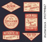vintage denim label set | Shutterstock .eps vector #393799867