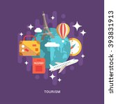 tourism concept.  flat style... | Shutterstock .eps vector #393831913