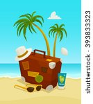 ocean beach concept with travel ... | Shutterstock .eps vector #393833323