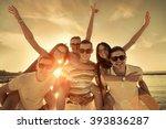 friends fun on the beach under... | Shutterstock . vector #393836287