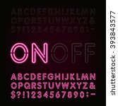 red neon light alphabet font.... | Shutterstock .eps vector #393843577