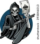 grim reaper holding gun and ace ... | Shutterstock .eps vector #393846013
