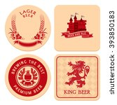 retro round and square beer... | Shutterstock .eps vector #393850183