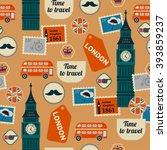 retro british seamless pattern... | Shutterstock .eps vector #393859237
