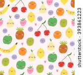 cute seamless pattern with... | Shutterstock .eps vector #393861223
