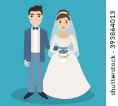bride and groom characters... | Shutterstock .eps vector #393864013