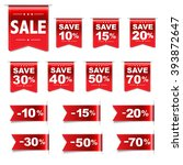 discount red labels set  vector ... | Shutterstock .eps vector #393872647