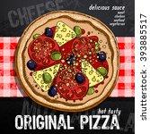 hot pizza advertisement | Shutterstock .eps vector #393885517
