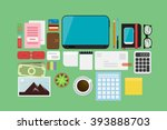 business flat lay | Shutterstock .eps vector #393888703