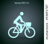 flat cyclist icon | Shutterstock .eps vector #393891787
