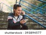 beautiful hispanic woman listen ... | Shutterstock . vector #393894577