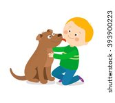 a little dog licking a boy's... | Shutterstock .eps vector #393900223