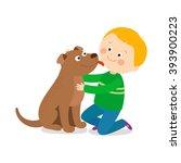 a little dog licking a boy's... | Shutterstock .eps vector #393900223