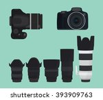 slr dslr camera collection with ... | Shutterstock .eps vector #393909763