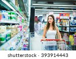 beautiful young woman shopping... | Shutterstock . vector #393914443