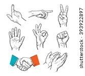 vector set of hands. icons of... | Shutterstock .eps vector #393922897