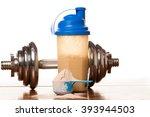 whey protein powder in scoop ... | Shutterstock . vector #393944503