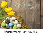 easter card with colorful eggs... | Shutterstock . vector #393960457
