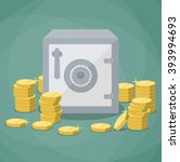 closed small safe box and... | Shutterstock .eps vector #393994693