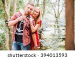 beautiful fashionable couple... | Shutterstock . vector #394013593