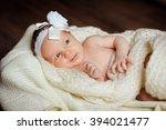 a newborn baby in the basket. a ... | Shutterstock . vector #394021477