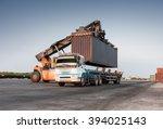 forklift handling container box ... | Shutterstock . vector #394025143