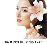 young attractive lady close up... | Shutterstock . vector #394035217