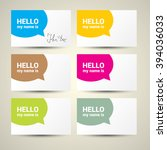 hello my name is. name tag set. ... | Shutterstock .eps vector #394036033