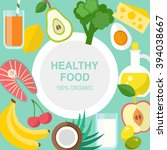 healthy food template  organic... | Shutterstock .eps vector #394038667