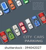top view of a city parking lot... | Shutterstock .eps vector #394042027