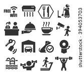 hotel facility icon set | Shutterstock .eps vector #394053703
