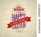 happy easter big label... | Shutterstock . vector #394058737