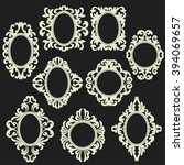 set of white round and oval... | Shutterstock .eps vector #394069657