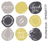 set of 9 decorative wedding and ... | Shutterstock .eps vector #394069777