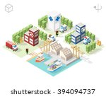 set of isolated isometric... | Shutterstock .eps vector #394094737