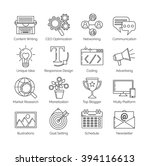 a set of flat thin line icons... | Shutterstock .eps vector #394116613
