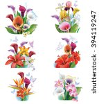 arrangement from tropical... | Shutterstock .eps vector #394119247