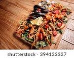 fresh mussels  crayfish  shrimp ... | Shutterstock . vector #394123327