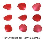 set of red rose petals | Shutterstock . vector #394132963