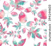 leaves and flower hand drawn... | Shutterstock . vector #394144603