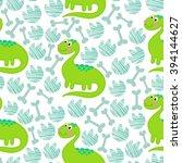 green dinosaur vector seamless...   Shutterstock .eps vector #394144627