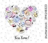 tea time poster concept. tea... | Shutterstock .eps vector #394148323