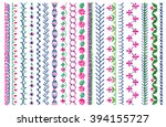 Cross stitch pattern for clothing, elements of folk embroidery, cross stitch vector ornament, set of art brushes with embroidery cross. Vector elements of folk embroidery, stitch, stitching, border