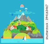 mountain landscape. the hotel... | Shutterstock .eps vector #394163467