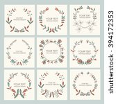 collection of floral wreath ... | Shutterstock .eps vector #394172353