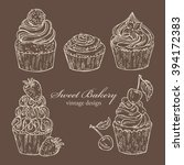 vector set   vintage cards with ... | Shutterstock .eps vector #394172383