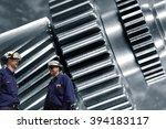 two engineers  mechanics with... | Shutterstock . vector #394183117