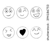 set of hand drawn happy emoji... | Shutterstock .eps vector #394186753