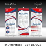 red and blue roll up banner... | Shutterstock .eps vector #394187023
